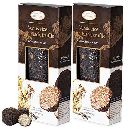 Black Venus Gourmet Rice Zwarte rijst met zwarte truffel Tuber Aestivum Black truffle Rijk aan antioxidanten, vezels, vitamine E, gezonde lichaamsbeheersing, 2 x 250 g