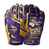Wilson NFL Stretch Fit Football Gloves - Minnesota-Youth