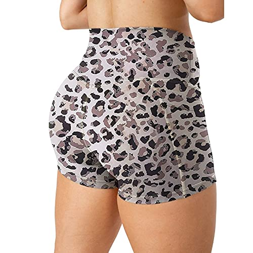 Pantalones cortos de yoga para mujer de entrenamiento Scrunch Butt Print Gym Shorts Control de barriga, pantalones cortos deportivos, gris oscuro, XX-Large