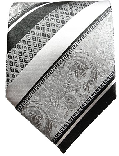 Cravate argenté noire rayée ensemble de cravate 3 Pièces (100% Soie Cravate + Mouchoir + Boutons de manchette)