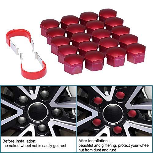 lot universal 17mm Cromo coche pl/ástico tuercas de las ruedas cubiertas con tapas de los pernos Herramientas de eliminaci/ón Car Styling Accesorios Color : Blue 20pcs