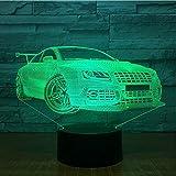 Créatif Illusion Voiture de course sportive 3D USB LED Veilleuse 7 couleurs Lampe...