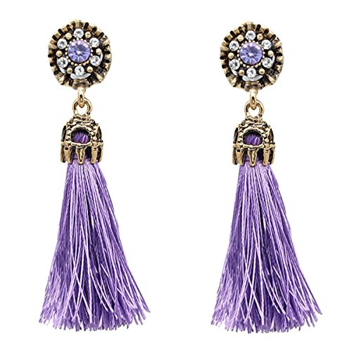 Women Vintage Earring Hollow Crystal Tassel Dangle Stud Earrings (Purple)