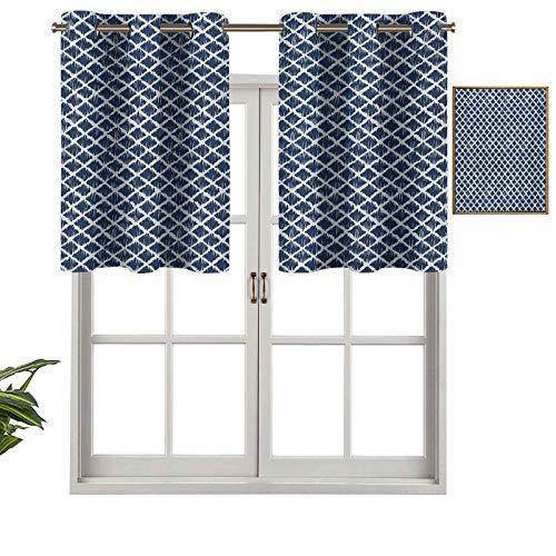 Hiiiman Cenefa corta recta dibujada a mano con diseño interior en zigzag, con formas rectangulares, juego de 2, 42 x 36 pulgadas para ventanas de cocina