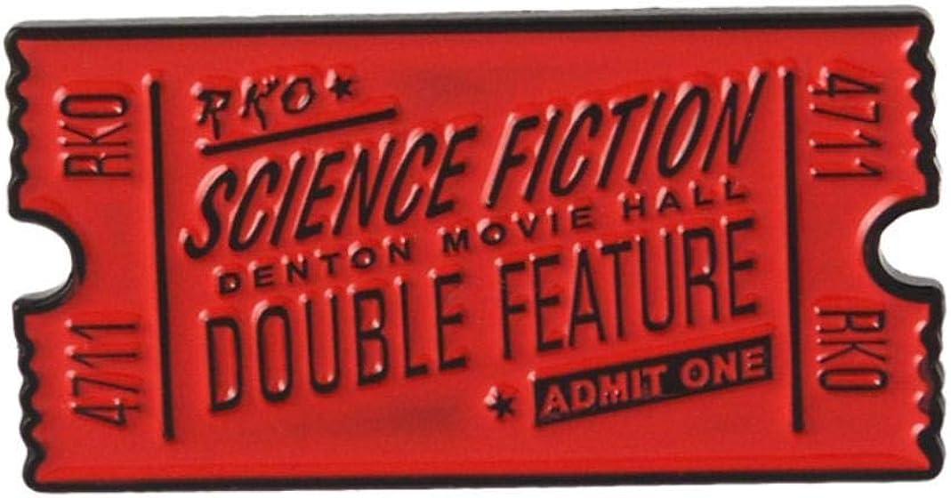 GLOA Brooch Pin, Unisex Enamel Horror Movie Ticket Bag Denim Jacket Collar Badge Gift - Black
