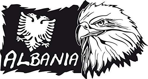 GRAZDesign Wandsticker Deko Aufkleber Albania - Deko Wohnzimmer modern Landkarte - Wandtattoo Adler / 93x50cm / 070 schwarz