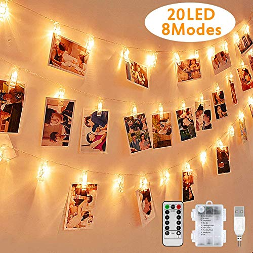 HONGLONG LED Photo Light String, Returnable 2.2 Meters/Lights-8 Modes 20 Photo Clips, USB/Battery Powered Mood Lighting, Decoration for The Living Room, Christmas