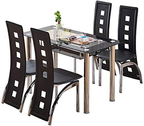 Mesa de cocina y sillas de comedor de respaldo alto cómodas sillas de cuero PU mesas rectangulares