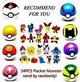 MUSEN 8pcs Pokemon Ball +24plastic Figures for Children+8 Trays