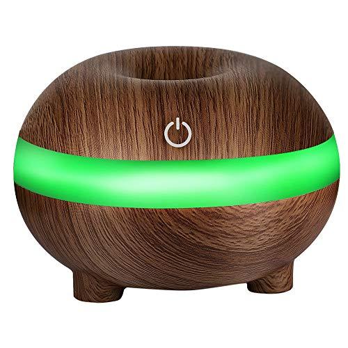 Humidificador Aromaterapia Difusor de Aceites Esenciales Difusores de Aroma Purificador de Aire Ultrasónico con Luz de Noche de 7 Colores para Casa, Dormitorio, Baño, Yoga, Oficina