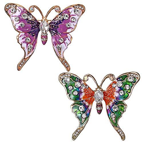 2 Piezas Broche, Broche de Mariposa, Broche de La Mariposa de Las Mujeres de la Vendimia, Broche Creativo único Broche Mariposa Color Broches para Vestidos de Fiesta