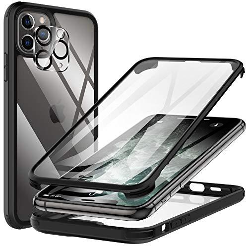 KKM Compatible con iPhone 11 Pro MAX Funda, Protector de Pantalla Incorporado, [Grado Militar] Carcasa Anticaídas Prueba de Golpes, Protección Completa Cover [Panel Vidrio], Negro 6.5 Pulgadas