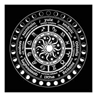 ゲームカードのストーリーを演奏するためのフランネルのタロットテーブルクロス60 cm(年輪リング),黒