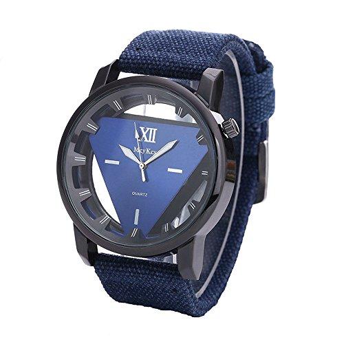 Covermason Hombres Dial Triángulo Deporte Militar Relojes de Pulsera Azul