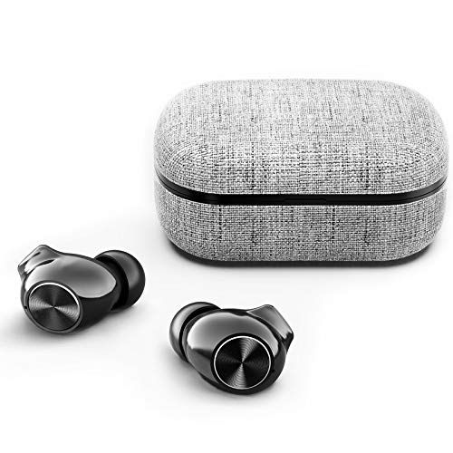 Tikland True Wireless Earbuds, Bluetooth Earbuds with Microphone, HIFI Sound Quality, IPX7 Waterproof, CVC8.0 Noise Cancelling, Up to 30H Playtime with Type-C Charging Case (fabric)