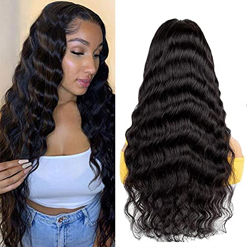 Lace Front Wigs Human Hair Loose Deep Wave Lace Front Wigs 20 Inch Brazilian Virgin Deep Wave Lace Front Human Hair Wigs Pre Plucked Lace Closure Wig for Black Women 150% Density Natural Color