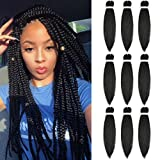 LYbeauty Braiding Hair Pre stretched Kanekalon 9 Packs/Lot 24 Inch Synthetic Ombre Braiding Hair Extensions Free Hot Water Setting Professional Soft Yaki Texture Crochet Twist Braid Hair (24', Black)