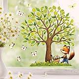 Wandtattoo Loft Fensterbild Frühling Ostern Baum Tiere wiederverwendbar Fensteraufkleber Kinderzimmer / 5. Baum mit Fuchs (1166) / 1. A4 Bogen