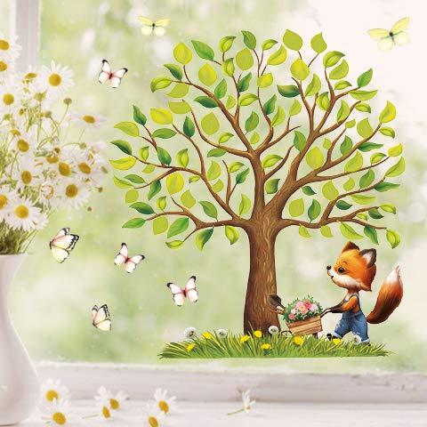 Wandtattoo Loft Fensterbild Frühling Ostern Baum Tiere wiederverwendbar Fensteraufkleber Kinderzimmer / 5. Baum mit Fuchs (1166) / 3. A2 Bogen
