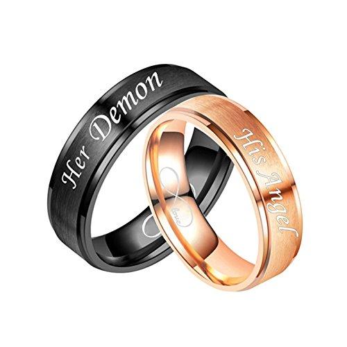 Daesar 1 Paar Edelstahl Ringe Verlobungsringe Eheringe Graviert Her Demon His Angel Infinity Love Trauring Schwarz Silber Partner Ringe Herren Damen Damen Gr.57 (18.1) & Herren Gr.54 (17.2)