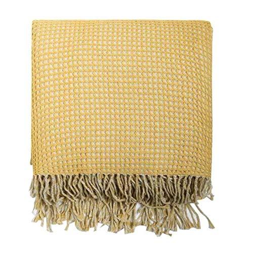 LYQZ 127x152cm Fringe Decke in Waffel-Webart-Gelb Perfekt for Fernsehen oder Nap auf dem Stuhl, Sofa und Bett Weich