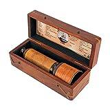 Kartique Brass Telescope with Wooden Box (Brown)