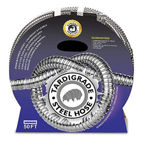 Tardigrade Steel Hose - 50' 304 Stainless Steel Garden Hose - Lightweight, Kink-Free, Strong Heavy Duty, Metal Water Hoses, High...