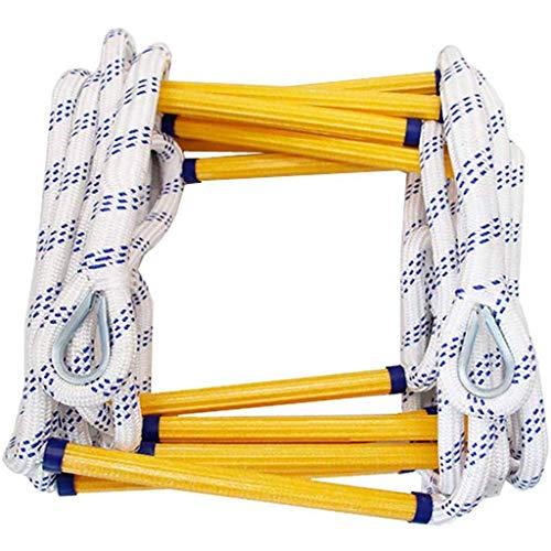 Échelle en corde en polyester antidérapant résistant à l'usure avec 2 crochets pour évacuer les urgences, évasion haute, escalade en plein air - Facile à déployer (taille : 5 m), 15m/49ft