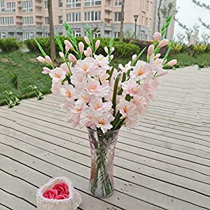 Floral DecorArtificial Simulation Gladiolus Flowers and Plants Bouquet 13″ Light Pink
