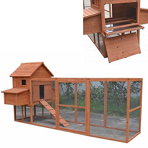 Hühnerstall / Hühnerhaus mit Freigehege aus Holz ca. 310 x 150 x 150 cm