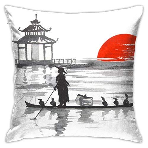 Nicegift Funda de Almohada de algodón Puro para Hombre y Barco artístico para sofá Suave decoración de Almohada para el hogar 18x18 Pulgadas/45x45cm