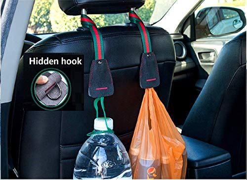 Fealkira Car Back Seat Headrest Hanger Holder Hooks for Purse Grocery Bag Universal Vehicle Trunk Storage Organizer Heavy Duty Purse Hook Drop Stop Gadget Best Car Seat Organizer Accessory for Women
