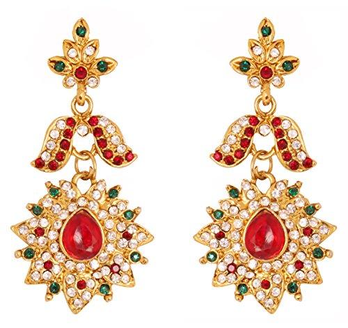Touchstone indiańskie bollywood biały czerwony zielony żyrandol designerska biżuteria kolczyki w antycznym złotym odcieniu