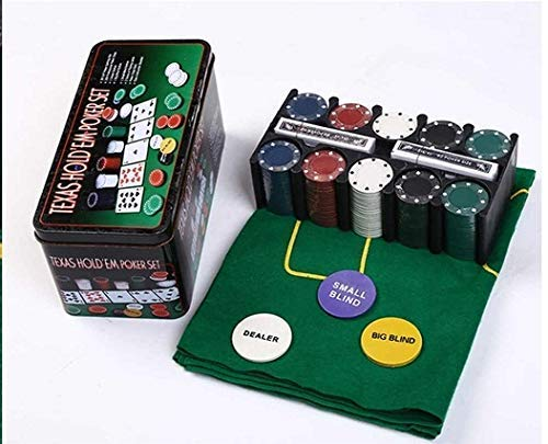 Praxon Casino Poker Game Set with 200 Denominated Poker Chips - Night Party Poker Game Playing Cards, Gaming Mat in Tin Box - Professional Poker Chips with Carry Box