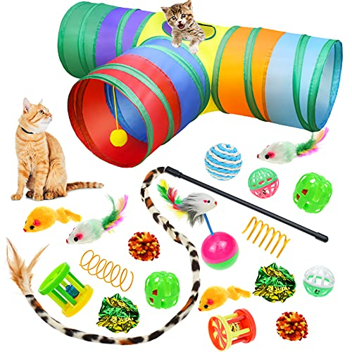 Malier 20 PCS Cat Kitten Toys Set, Collapsible Cat Tunnels for Indoor Cats, Interactive Cat Feather Toy Fluffy Mouse Crinkle Balls Cat 3 Way Tube Tunnel Toys for Cat Puppy Kitty Kitten