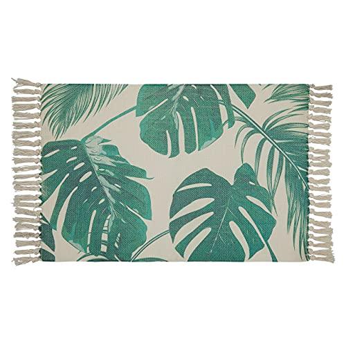 Alfombra pequeña verde/blanca, alfombra de cocina, entrada interior, alfombra de baño, alfombra con flecos, alfombra vintage, alfombra para balcón, alfombra de cocina, lavable, 60 x 90 cm