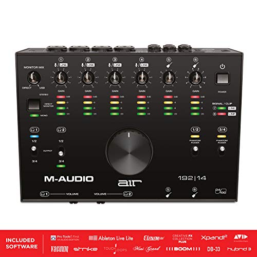 M-Audio AIR 192 | 14 - 8-in-4-out USB Audio- / MIDI-Schnittstelle mit ProTools und Ableton Live Recording Software mit Studio-Effekten und Instrumenten
