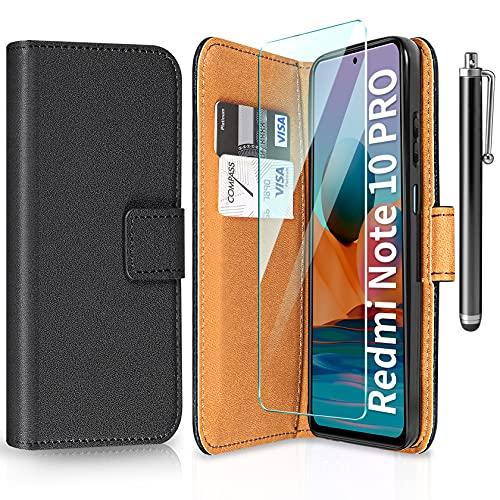 ivencase Funda Compatible con Xiaomi Redmi Note 10 Pro con Protector de Pantalla y bolígrafo, Libro Caso Cubierta la Tapa magnética Protector de Billetera Cuero de la PU Carcasa - Negro