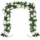 Huryfox 2 Pack Flower Garland Artificial White Rose Garlands Flowers Vine Fake Floral Vines Autumn Decorations for Wall Birthday Party Wedding Room Decor (7.5 FT X 2)