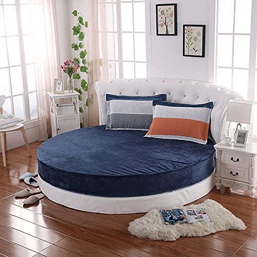 CYYyang Protector de colchón/Cubre colchón Acolchado, Ajustable y antiácaros. Falda de Cama Redonda de Felpa-Blue_2.2m