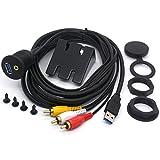 3 RCA y USB 3.0 macho a USB 3.0 y 3.5 mm hembra AUX para montaje en coche, cable de extensión 3RCA para salpicadero de coche, barco, motocicleta, 2 m