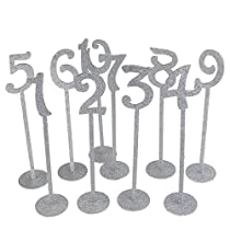 ROSENICE Wedding Table Numbers Holders Thicken Wood with Silver Glitter 1-20,20pcs