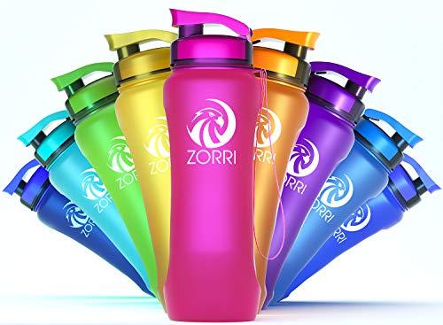 ZORRITrinkflasche1l800ml600ml1.2literBpafreiAuslaufsichereSportflascheKunststoffmitFilter& Flaschenbürste FürKinder,Sport,Fahrrad-SchlankeWasserflascheausTritan-Leicht,Nachhaltig