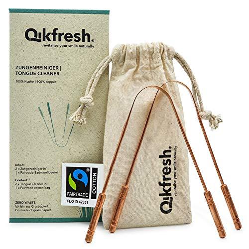 Qikfresh - Limpiadores de lengua 100% de cobre (x2), incluye bolsa de algodón de comercio justo | Raspador de lengua antibacteriano, asas robustas - Embalaje cero residuos - NUEVO