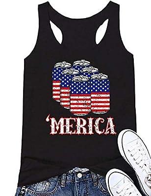 Women 'Merica American Flag Beer Racerback Tank Tops 4th July Sleeveless Vest Shirt Funny Graphic Tees