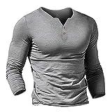 Xmiral Herren Sweatshirt Lange Ärmel Einfarbig V-Ausschnitt Slim Fit Sportshirt T-Shirt Beiläufig Knopf Atmungsaktiv Fitness Bluse Tops(Grau,L)