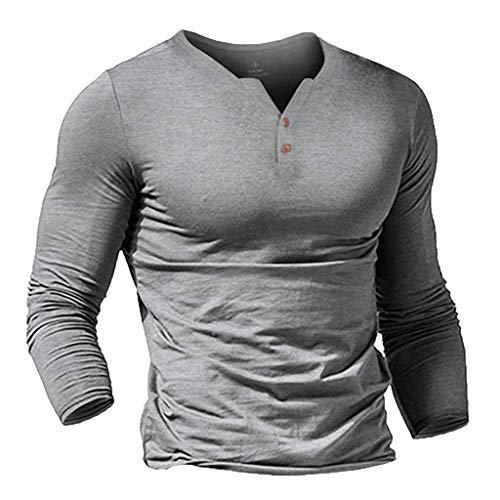 Xmiral Herren Sweatshirt Lange Ärmel Einfarbig V-Ausschnitt Slim Fit Sportshirt T-Shirt Beiläufig Knopf Atmungsaktiv Fitness Bluse Tops(Grau,XXL)