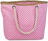 styleBREAKER Strandtasche mit Punkte Muster und Reißverschluss, kleiner Kosmetiktasche, Shopper,...