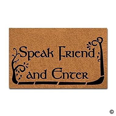 BLINY Funny Doormat Speak Friend And Enter,Non-slip Home Office Decorative Door Mat Indoor/Outdoor Rubber Mat 18 X30