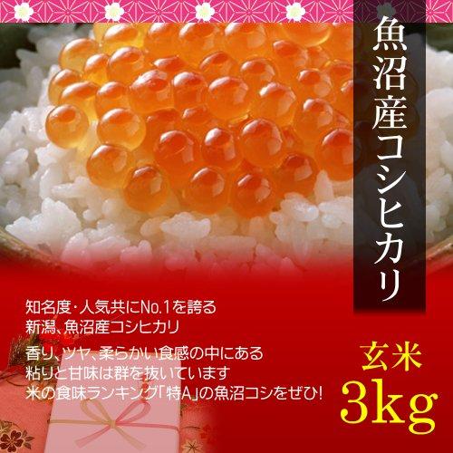 【お取り寄せグルメ】魚沼産コシヒカリ 3kg 玄米・贈答箱入り/ギフトに新潟の最高級ブランド米を